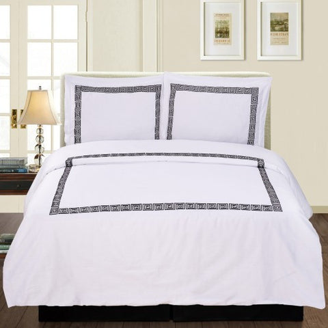 Serena 3 Piece Duvet Cover Set White/Black (Queen Size) - My Bed Covers