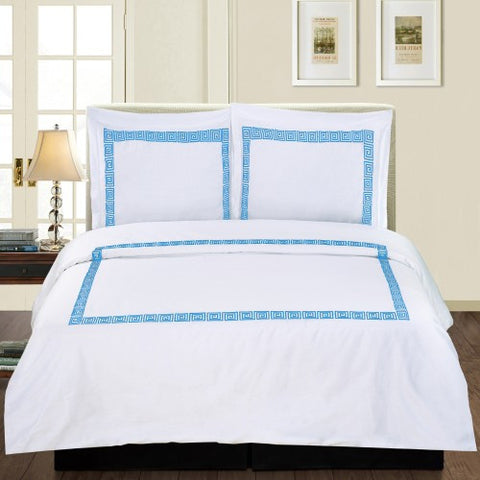 Serena 3 Piece Duvet Cover Set White/Blue (Queen Size) - My Bed Covers