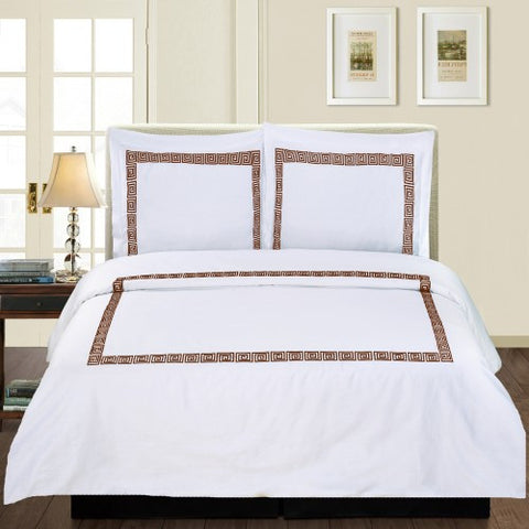 Serena 3 Piece Duvet Cover Set White/Chocolate (Queen Size) - My Bed Covers