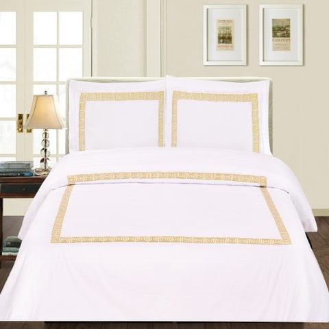Serena 3 Piece Duvet Cover Set White/Gold (Queen Size) - My Bed Covers
