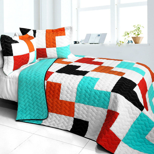 Shadow In The Water 3PC Vermicelli - Quilted Patchwork Quilt Set (Full/Queen Size) | My Bed Covers