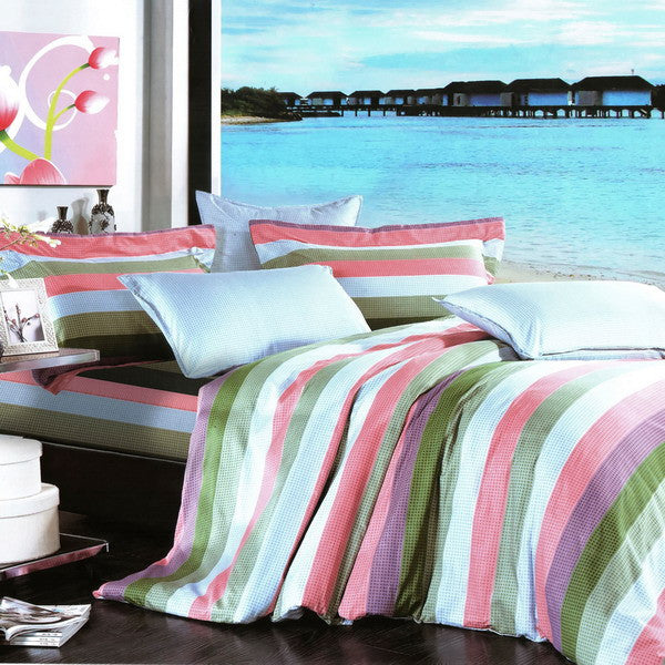 Shoreline 100% Cotton 3PC Comforter Cover/Duvet Cover Combo (Twin Size) | My Bed Covers