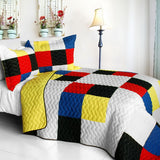Smashing Patchword - A Vermicelli-Quilted Patchwork Quilt Set (Full/Queen Size) | My Bed Covers