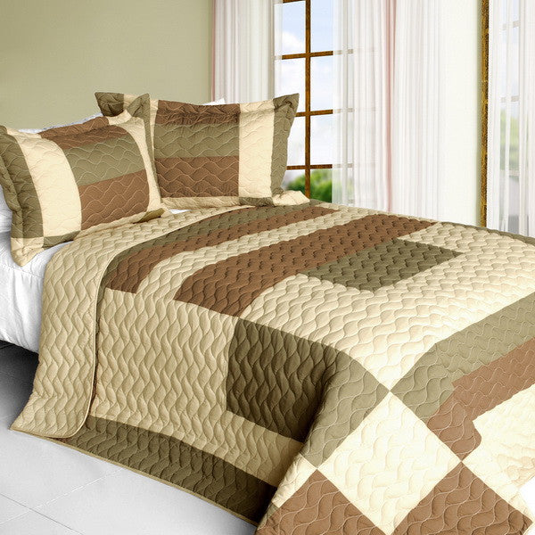 Solid Serenade 3PC Vermicelli - Quilted Patchwork Quilt Set (Full/Queen Size) | My Bed Covers