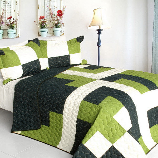 Song Cry Vermicelli-Quilted Patchwork Geometric Quilt Set (Full/Queen Size) | My Bed Covers