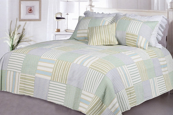 Spa Stripe's 100% Cotton 3PC Vermicelli-Quilted Striped Patchwork Quilt Set (King Size) - My Bed Covers - 1