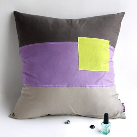 Square Feeling Knitted Fabric Patch Pillow Cushion - My Bed Covers - 1