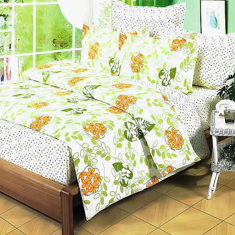 Summer Leaf 100% Cotton 4PC Comforter Set (Twin Size) - My Bed Covers