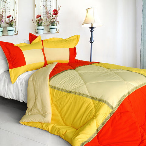 Summer Sunrise Quilted Patchwork Down Alternative Comforter Set (Twin Size) - My Bed Covers