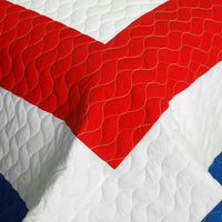 Sun's Passion Vermicelli-Quilted Patchwork Geometric Quilt Set (Full/Queen Size) - My Bed Covers - 4