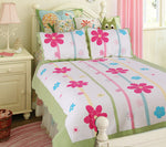 Sunny Day 100% Cotton 2PC Embroidered Intricate Stitching Quilt Set (Twin Size) - My Bed Covers - 1