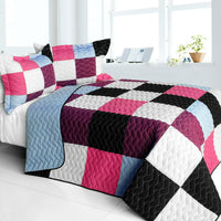 Sweet Berry Smack 3PC Vermicelli - Quilted Patchwork Quilt Set (Full/Queen Size) - My Bed Covers - 1