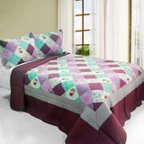 Sweet Dream Cotton 3PC Vermicelli-Quilted Printed Quilt Set (Full/Queen Size) - My Bed Covers - 1