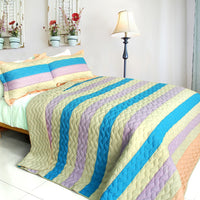 Tasty Dessert 3PC Vermicelli-Quilted Patchwork Quilt Set (Full/Queen Size) | My Bed Covers