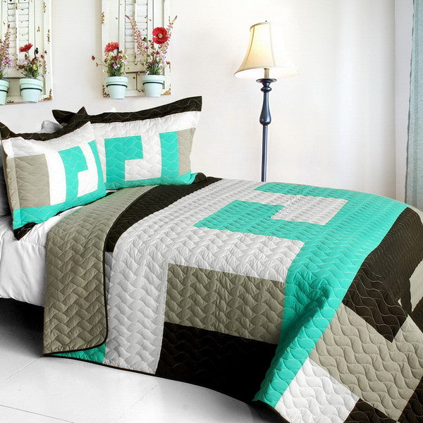 Tetris - B Vermicelli-Quilted Patchwork Geometric Quilt Set (Full/Queen Size) | My Bed Covers