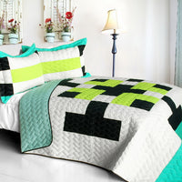 Tetris - C Vermicelli-Quilted Patchwork Geometric Quilt Set (Full/Queen Size) | My Bed Covers