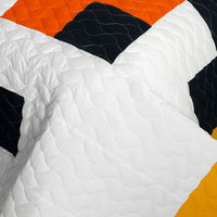 Tetris - D Vermicelli-Quilted Patchwork Geometric Quilt Set (Full/Queen Size) | My Bed Covers
