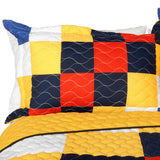 That Galantis Vermicelli-Quilted Patchwork Geometric Quilt Set (Full/Queen Size) - My Bed Covers - 2