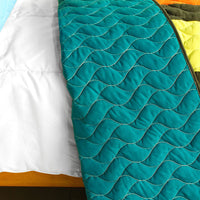 Time Chain 3PC Vermicelli-Quilted Patchwork Quilt Set (Full/Queen Size) | My Bed Covers