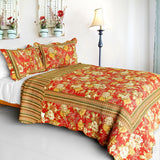 Time Jumper Cotton 3PC Vermicelli-Quilted Floral Printed Quilt Set (Full/Queen Size) | My Bed Covers