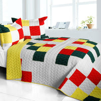 Toy Paradise 3PC Vermicelli-Quilted Patchwork Quilt Set (Full/Queen Size) | My Bed Covers