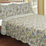 Valley Of The Winds 100% Cotton 3PC Classic Floral Vermicelli-Quilted Quilt Set (King Size) - My Bed Covers - 1