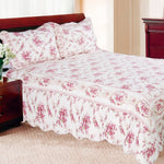 Village Romance 100% Cotton 3PC Classic Floral Vermicelli-Quilted Quilt Set (King Size) - My Bed Covers - 1