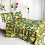 Vintga Style Cotton 3PC Vermicelli-Quilted Printed Quilt Set (Full/Queen Size) | My Bed Covers