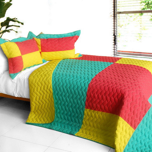Waiting For Amore 3PC Vermicelli-Quilted Patchwork Quilt Set (Full/Queen Size) | My Bed Covers