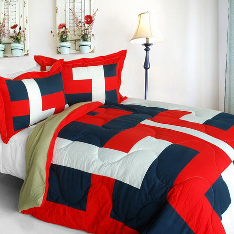 Warm Cabin Quilted Patchwork Down Alternative Comforter Set (Twin Size) - My Bed Covers