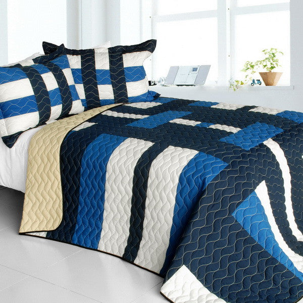 Waves Axero Vermicelli-Quilted Patchwork Geometric Quilt Set (Full/Queen Size) - My Bed Covers - 1