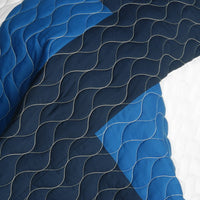 Waves Axero Vermicelli-Quilted Patchwork Geometric Quilt Set (Full/Queen Size) - My Bed Covers - 4