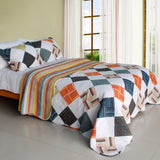 Western Plaid Cotton 3PC Vermicelli-Quilted Printed Quilt Set (Full/Queen Size) - My Bed Covers - 1