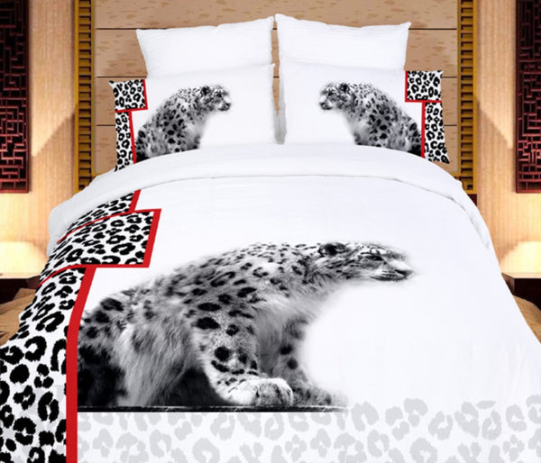 White Cheetahs 4PC Duvet Cover Set (Twin Size) | My Bed Covers