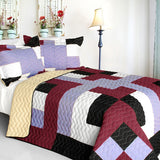Wind Castle 3PC Vermicelli-Quilted Patchwork Quilt Set (Full/Queen Size) - My Bed Covers - 1