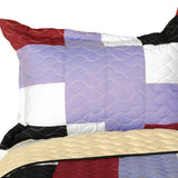 Wind Castle 3PC Vermicelli-Quilted Patchwork Quilt Set (Full/Queen Size) - My Bed Covers - 2