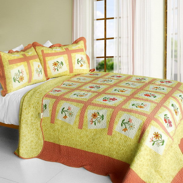 Woman's Fragrance 3PC Cotton Vermicelli-Quilted Printed Quilt Set (Full/Queen Size) | My Bed Covers