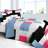 Wonderful Date Day 3PC Vermicelli - Quilted Patchwork Quilt Set (Full/Queen Size) - My Bed Covers - 1