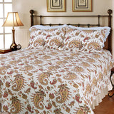 Wonderful Life 100% Cotton 3PC Classic Floral Vermicelli-Quilted Quilt Set (King Size) - My Bed Covers - 1