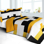 Yellow Croaker 3PC Vermicelli - Quilted Patchwork Quilt Set (Full/Queen Size) - My Bed Covers - 1