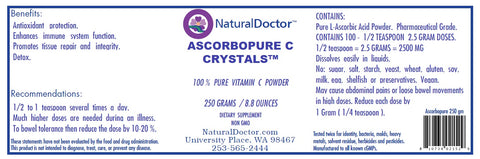 ASCORBOPURE C CRYSTALS ,100% ASCORBIC ACID VITAMIN C, 250 GRAMS / 8.8 OUNCES