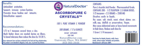 ASCORBOPURE C CRYSTALS ,100% ASCORBIC ACID VITAMIN C, 500 GRAMS / 17.6 OUNCES