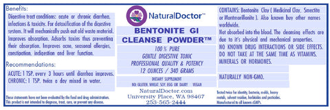 BENTONITE GI CLEANSE POWDER, 12 OUNCES / 340 GRAMS