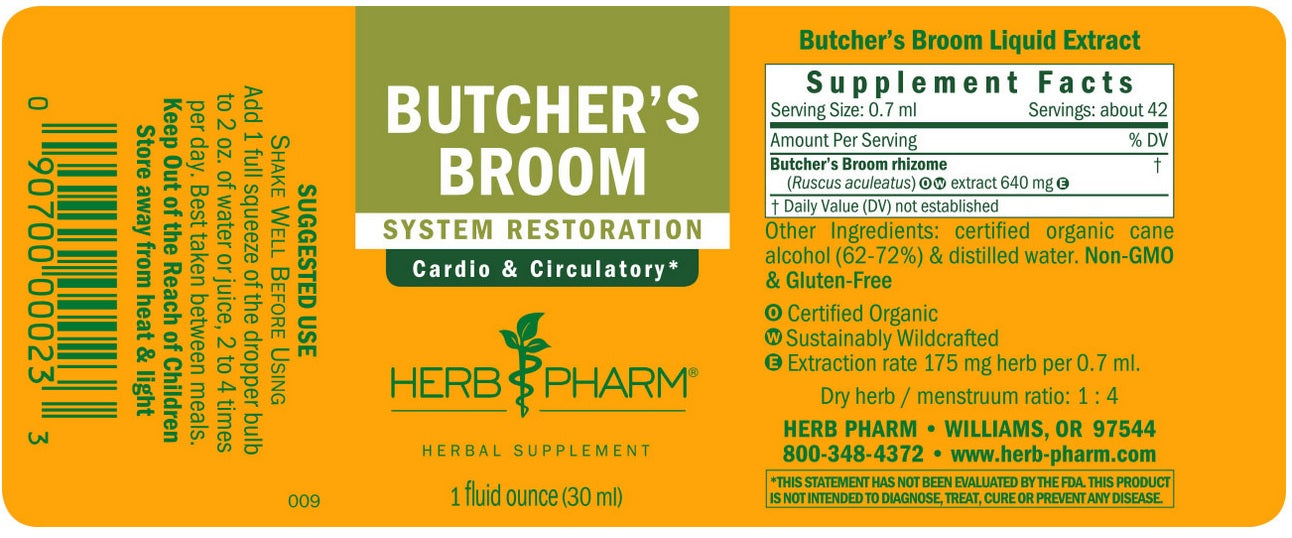 HERB PHARM ORGANIC BUTCHER'S BROOM, 1 OUNCE