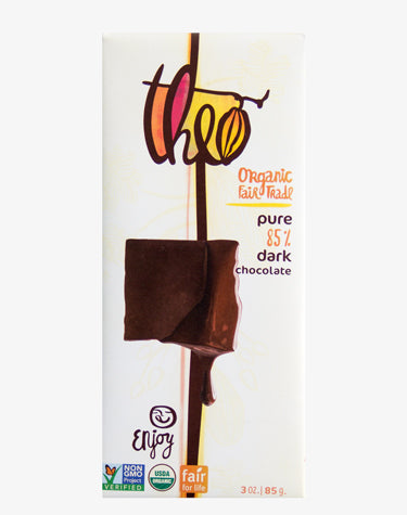 THEO ORGANIC PURE 85% DARK CHOCOLATE BAR, 3 OUNCES, 12 PACK