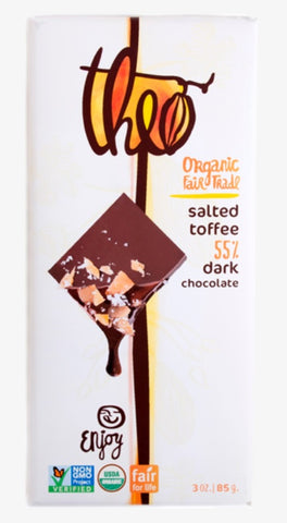 THEO ORGANIC SALTED TOFFEE 55% DARK CHOCOLATE BAR, 3 OUNCES, 6 PACK
