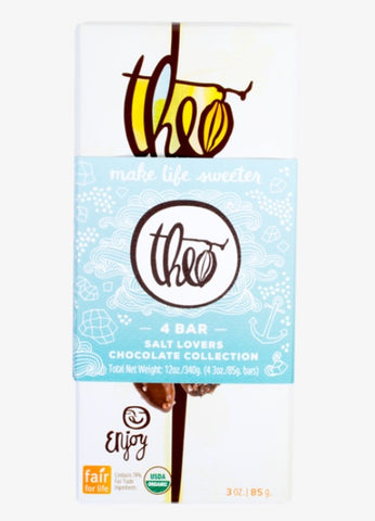 THEO ORGANIC SALT LOVERS CHOCOLATE 4 BAR COLLECTION