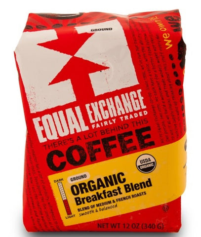 Equal Exchange Organic Coffee, Breakfast Blend, Ground, 12 Ounces, 3 Pack