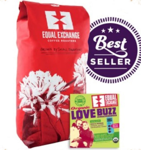 EQUAL EXCHANGE ORGANIC COFFEE, LOVE BUZZ, BEANS, 5 LBS