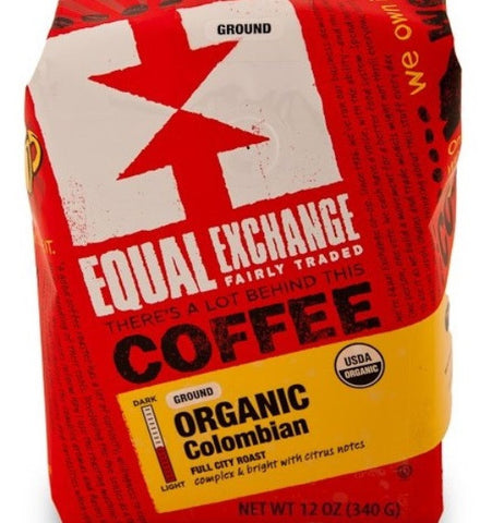 Equal Exchange Organic Coffee, Colombian, Beans, 12 Ounce